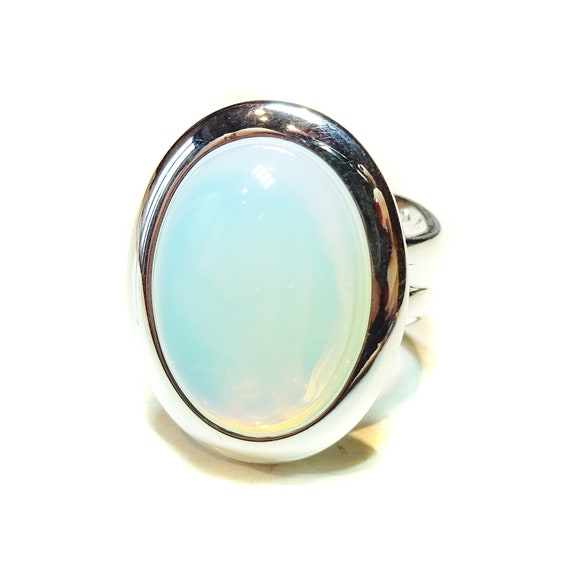 White Opalite Classic Semi-precious Gemstone Adjustable Ring 23 x 17mm