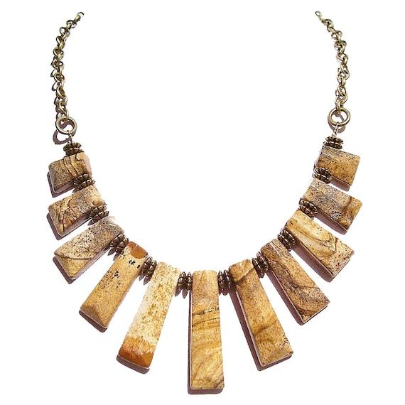 Picture Jasper Gemstone & Antique Brass Fan Necklace