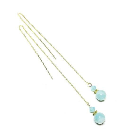 Blue Amazonite Gemstone & Swarovski Crystal Gold Vermeil Long Drop Chain Ear Threads - 174mm