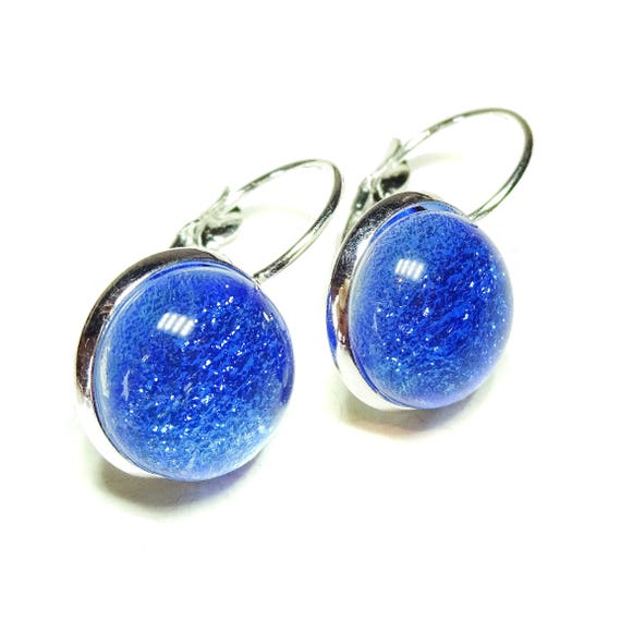 Sky Blue Dichroic Glass Lever Back Earrings