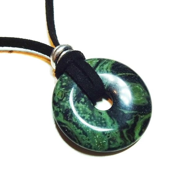 Round Gemstone Donut Pendant - Green & Black Kambaba Jasper 30mm