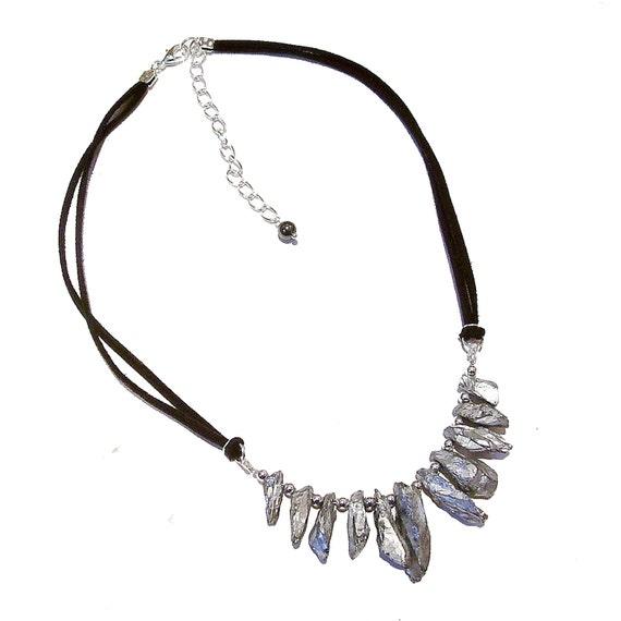 Metallic Gemstone Nugget Fan Necklace - Silvery Grey