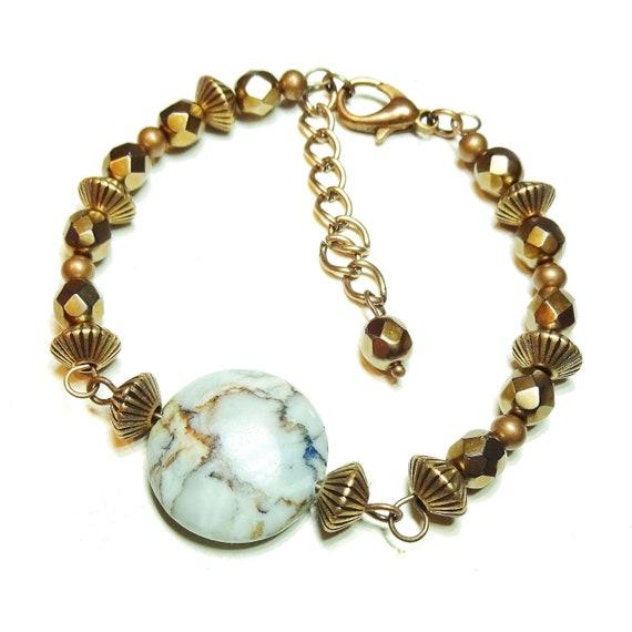 Gemstone Wire Bangle - Blue Vein Jasper, Copper & Czech Glass