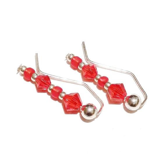 "Red Beaded Earrings / Ear Pins / Ear Vines w/ Swarovski Crystals 7/8"""
