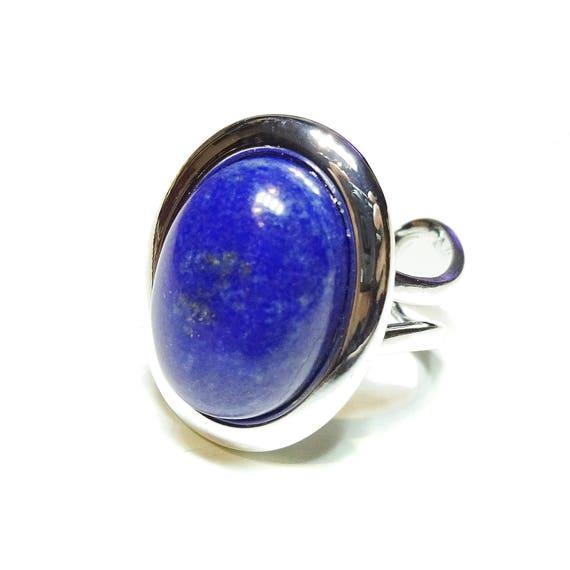 Blue Lapis Lazuli Classic Semi-precious Gemstone Adjustable Ring 23 x 17mm