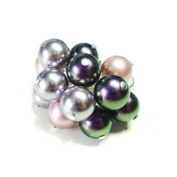 Purple, Lilac & Pink Swarovski Pearl Cha Cha Ring - Adjustable