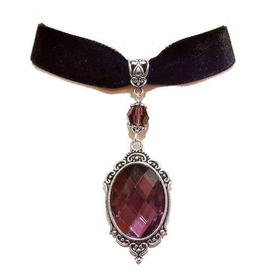Tarja Purple Crystal & Black Velvet Gothic Choker Necklace