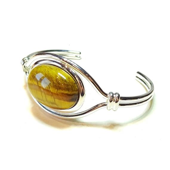 Brown Tiger's Eye Semi-Precious Gemstone Torque Cuff Bangle