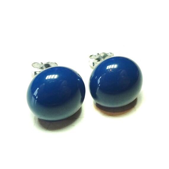 Navy Blue Fused Glass & Sterling Silver Stud Earrings