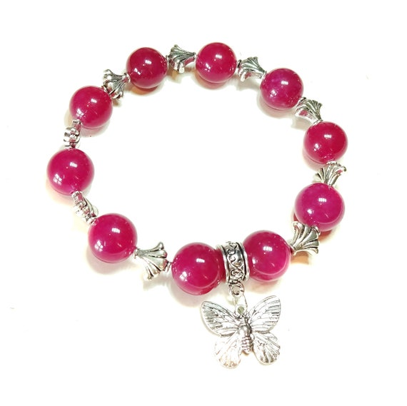 Bright Pink Jade Gemstone Stretch Bracelet - Approx. 20.5cm