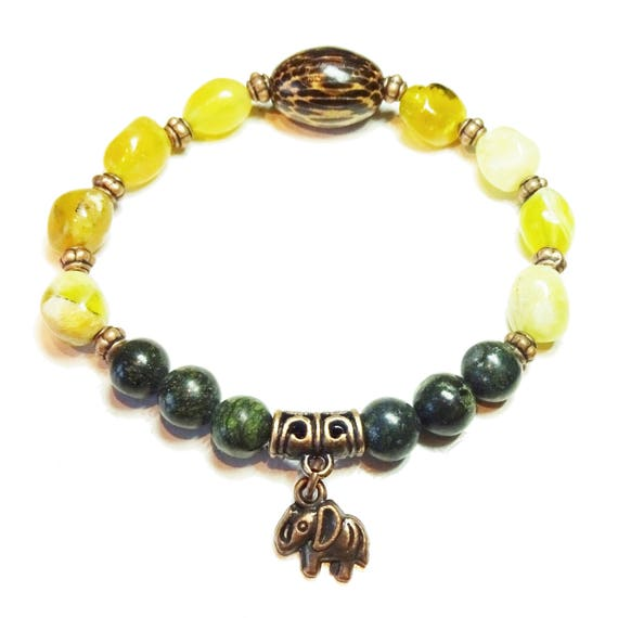 Boho Surfer Stretch Bracelet with Gemstone Serpentine & Yellow Opal - Ap. 19.5cm