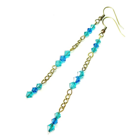 Blue & Teal Swarovski Crystal Long Drop Antique Brass Earrings