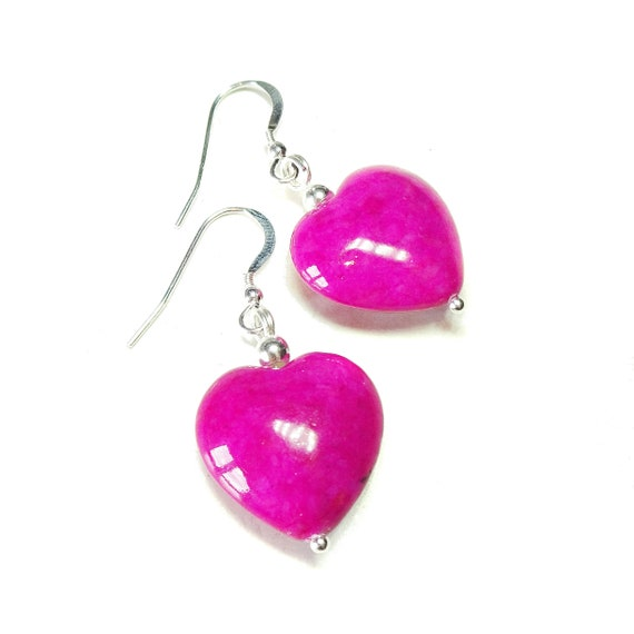 Pink Turquoise Heart & Sterling Silver Gemstone Earrings