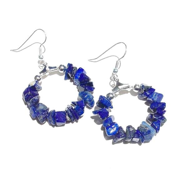 Blue Lapis Lazuli Gemstone Chip Hoop Earrings 25mm