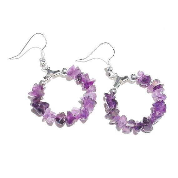 Purple Amethyst Gemstone Chip Hoop Earrings 25mm