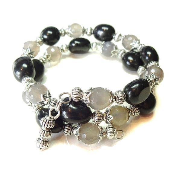 Gemstone Wrap Bangle with Black Agate & Grey Agate