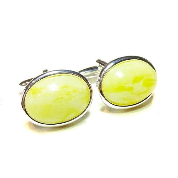 Lemon Yellow Jade Semi-precious Gemstone Cufflinks - Angled