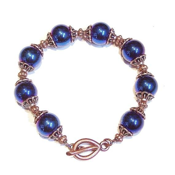 Blue Hematite & Antique Copper Bracelet
