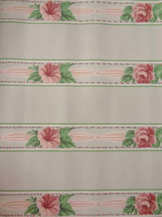 Dollhouse Wallpaper Ribbons and Roses Pink