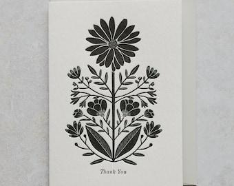 Letterpress Botanical Thank You Greetings Card
