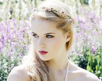 Peach Rose Flower Crown, Flower Crown, Floral Garland, Rose Crown, Bridal Hair Wreath, Festival Flower Crown, Flower Girl Hair Accessory