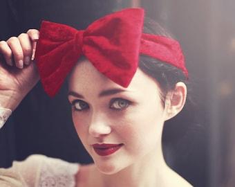 Red Velvet Bow Headband, Red Bow Headband, Velvet Headband, Crushed Velvet Headband, Festive Christmas Accessory, Fall Fashion Accessory
