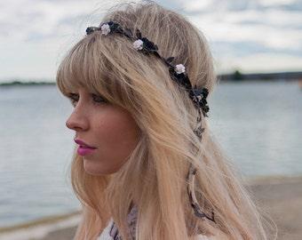 White and Black Rose Flower Crown, Rose Crown, Rose Flower Crown, Monochrome Headband, Festival Flower Crown