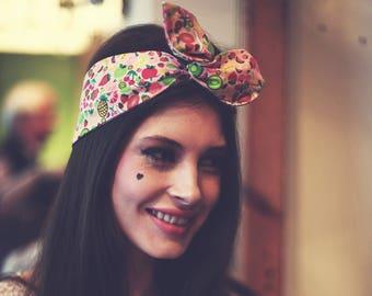 Fruit Print Wire Headband, Fruit Wire Headband, Fruit Headband Print Hair Wrap, Pin Up Rockabilly Hair Accessory