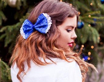 Royal Blue Velvet Hair Bow, Velvet Hair Clip, Velvet Hair Accessory