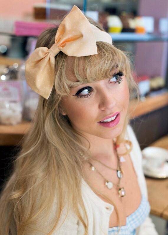 Peach Pastel Bow Headband Dolly Bow Bow Headband Rockabilly  4c6ae036eb2