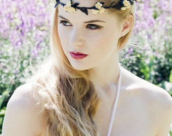 Yellow and Black Flower Crown, Yellow Flower Crown, Rose Headband, Floral Garland, Festival Crown, Bridal Floral Head Piece, Floral Headband
