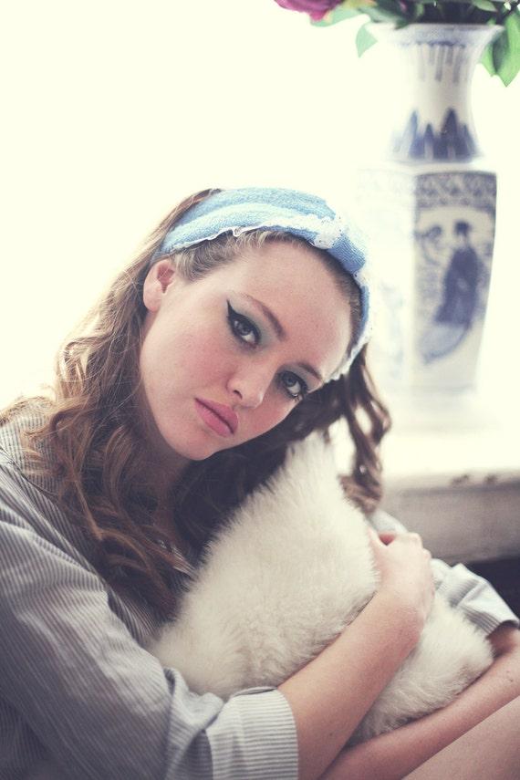 Blue Spa Headwrap Baby Blue Flannel Turban Head Wrap Boudoir Etsy
