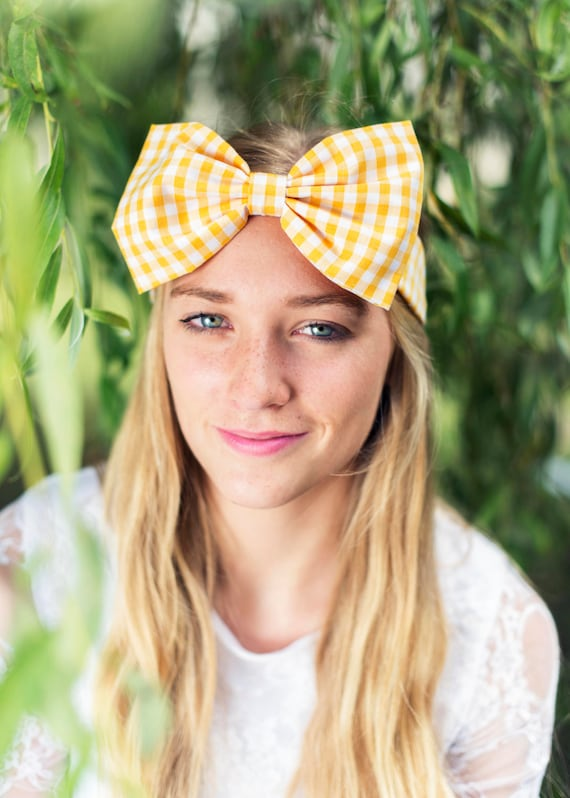 Yellow Gingham Bow Headband Dolly Bow Bow Headband  a07ba6c27e5