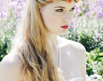 Orange Flower Crown, Rose Headband, Autumn Wedding Headband, Orange Flower Hair Wreath, Flower Girl Crown, Bridal Floral Hair Accessory