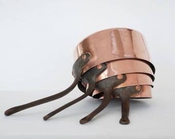 Vintage copper pans, Copper pots, French copper cookware, Kitchen wall decor.