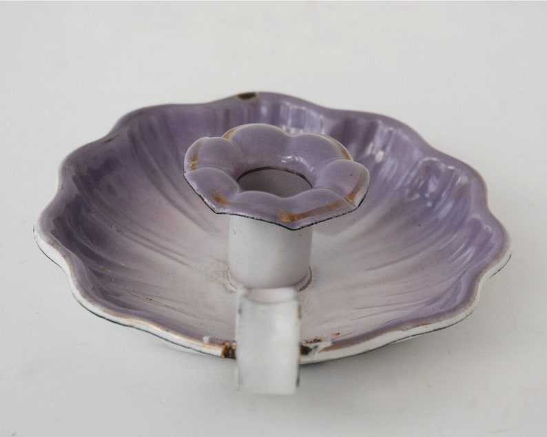 Parma mauve chamberstick Violet enamel candle holder Bedroom decor.