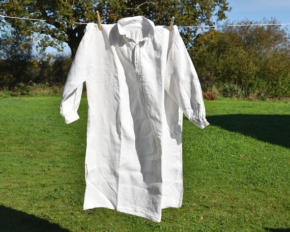 Antique large linen shirt, Artist smock for paint… - image 2