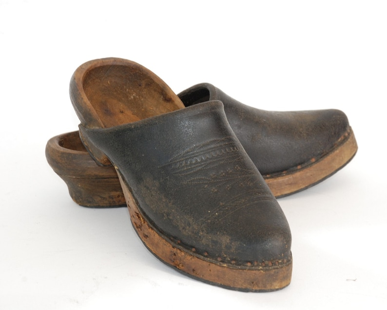 78f777e23620c French antique wooden clogs shoes pair, Rustic country decor.