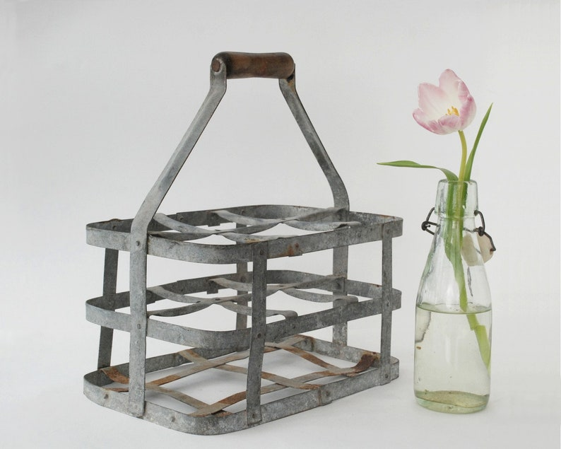 6 Wine Bottle Rack Carrier with Carrying Handle Galvanized Tin Metal