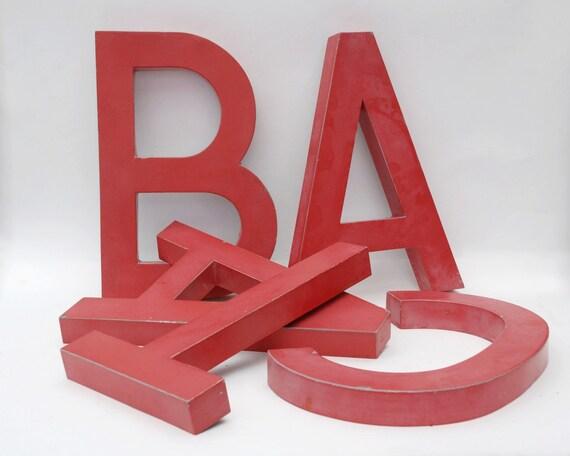 Lot de 5 lettres en m tal rouge enseigne bureau de tabac etsy - Enseigne bureau de tabac ...