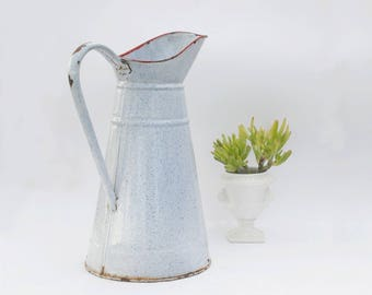 Pitcher jug, Graniteware enamel flower vase, French Enamelware, Farmhouse kitchen decor, Outdoor garden decor.