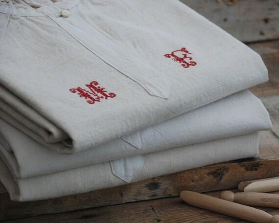 Linen nightgown or artist painter smock monogram M