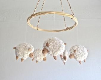Sheep - nursery mobile - lambs - baby room decor - farm - new baby gift - white - beige - pastel - gender neutral - rental safe