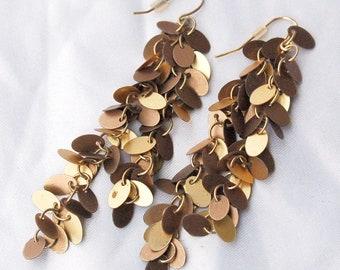 Golden Fringe Cascade Earrings