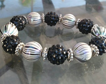 Zebra Stripe Bauble Stretch Bracelet
