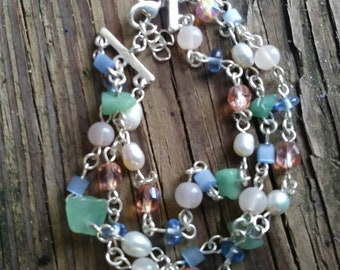 Pearl Gemstone Trilink Bracelet