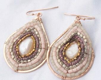 Rose Gold Copper Pearl Drop Earrings