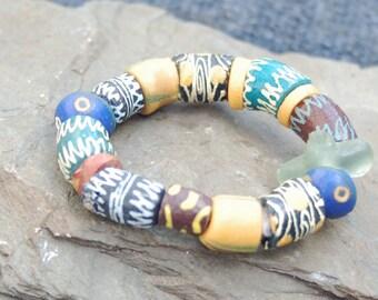 Painted Glass Cermaic Bead Stretch Bracelet