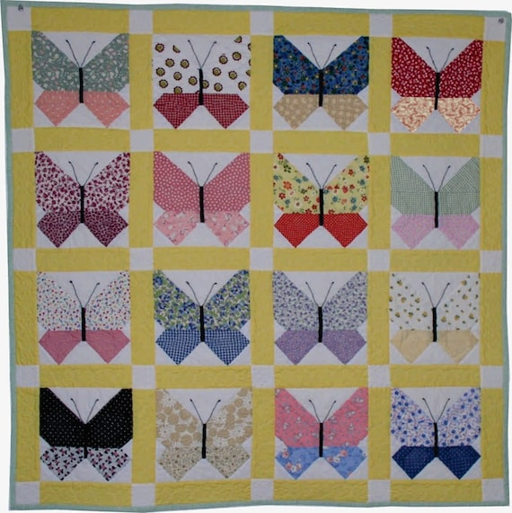 Retro Butterfly Quilt Pattern PDF Etsy Delectable Butterfly Quilt Pattern