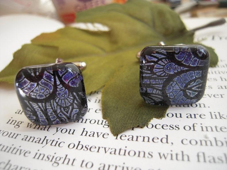Purple Dichroic Glass Cufflinks Mens Jewelry Purple art glass Fused Glass Accessory Art Glass Mens Jewelry